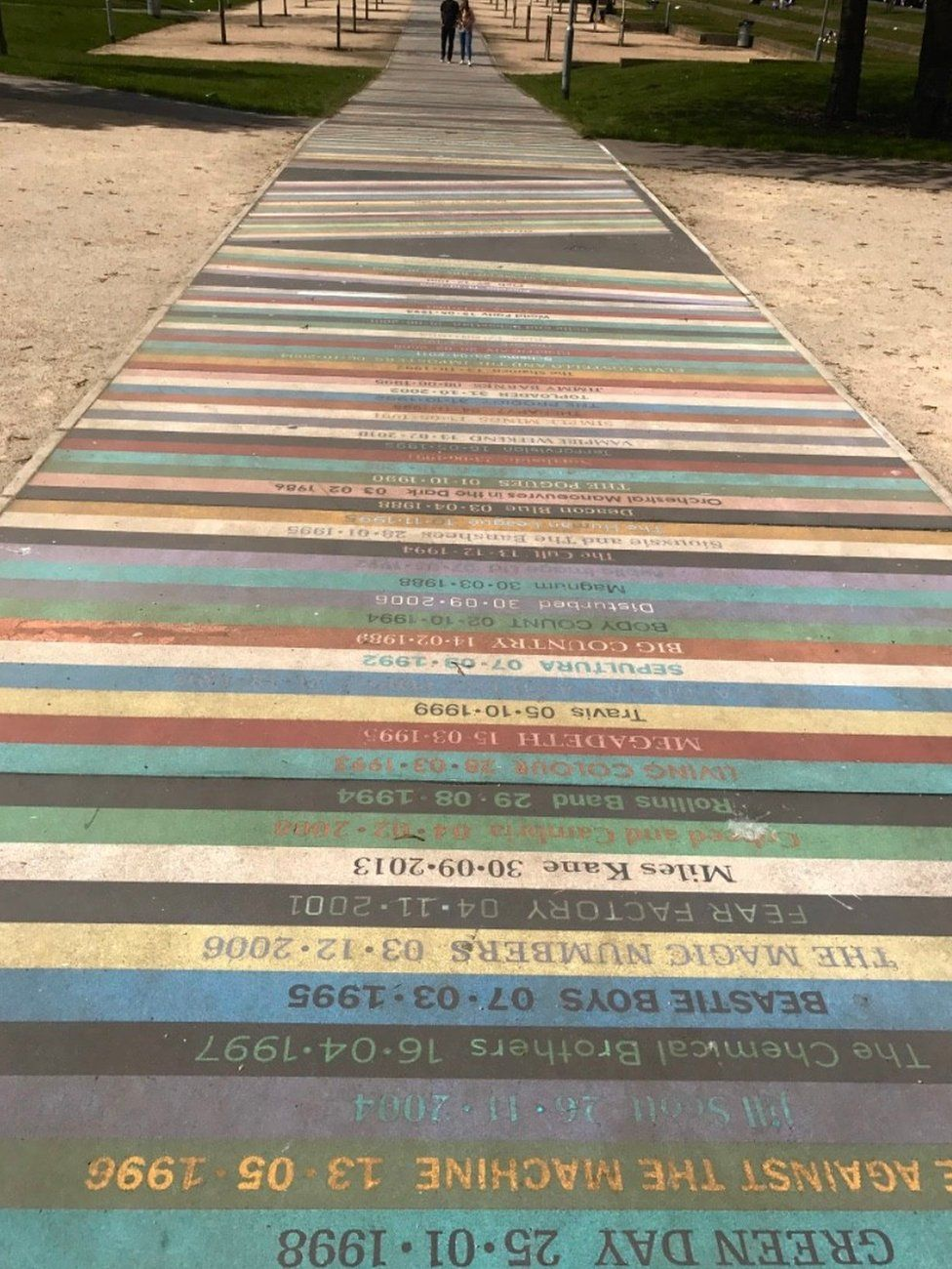 Pathway with names of bands on
