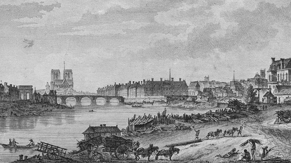 Engraving showing Notre-Dame shortly before the French Revolution