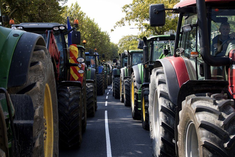 Tractor protests in Lleida, Catalonia, Spain, 23 September