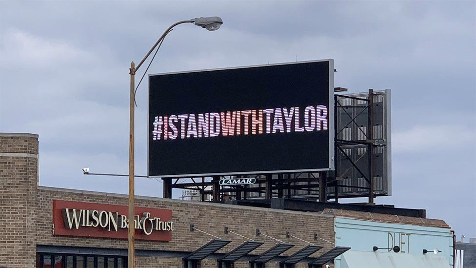 Taylor Swift's fans paid for billboards supporting the star to appear outside the headquarters of Big Machine Records