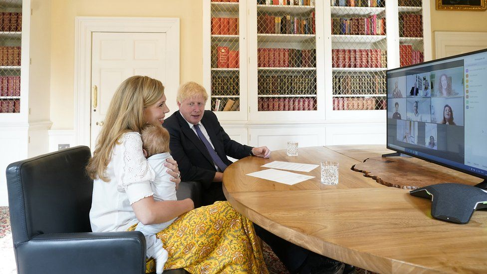 Carrie and Boris Johnson and their son Wilfred