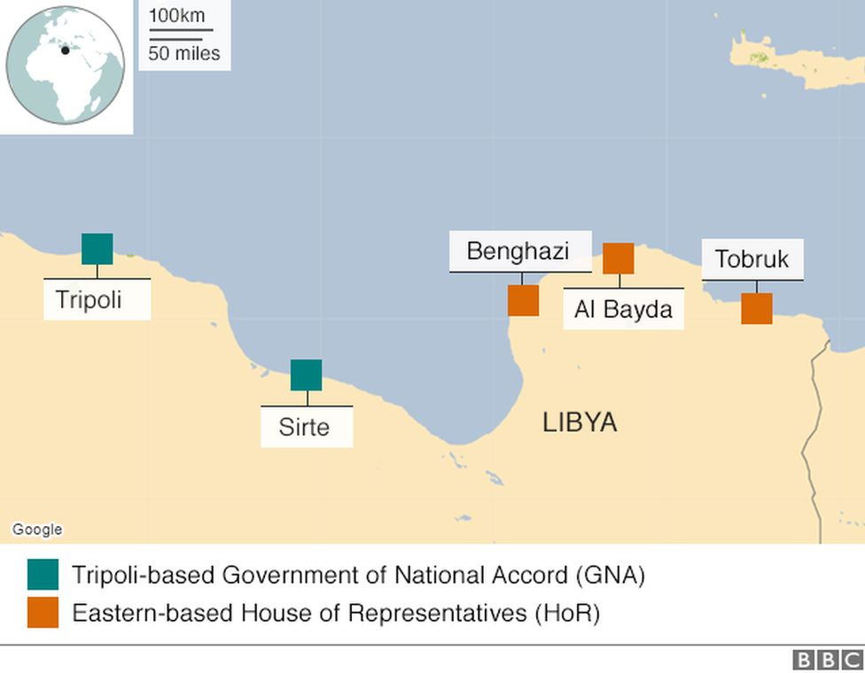 Map showing areas controlled by various groups in Libya