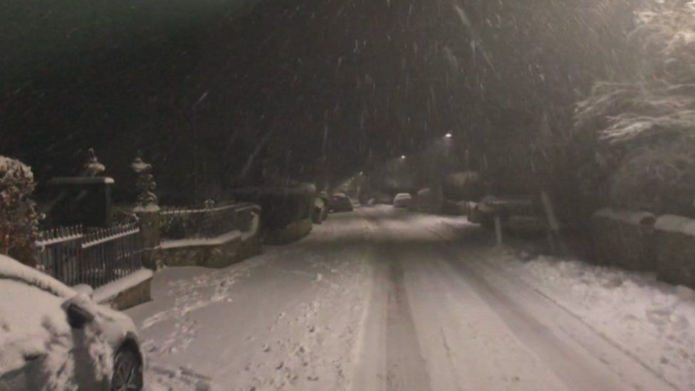The village of Bowden near Melrose woke up to snow