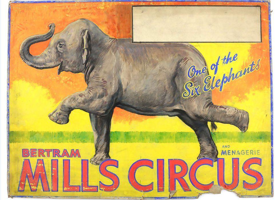 Bertram Mills Circus poster featuring an elephant