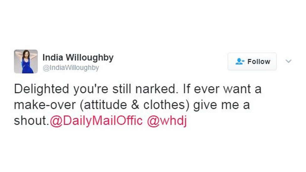 India Willoughby tweet
