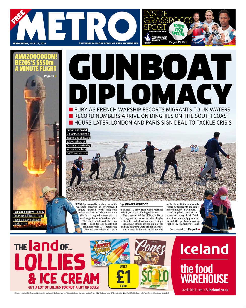 Metro front page 21/07/21