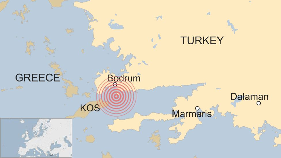 Map shows location of the 6.7-magnitude earthquake near the Greek island of Kos