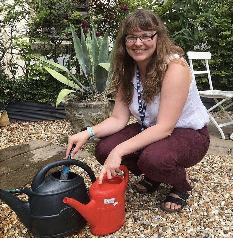 Sam Little gardening
