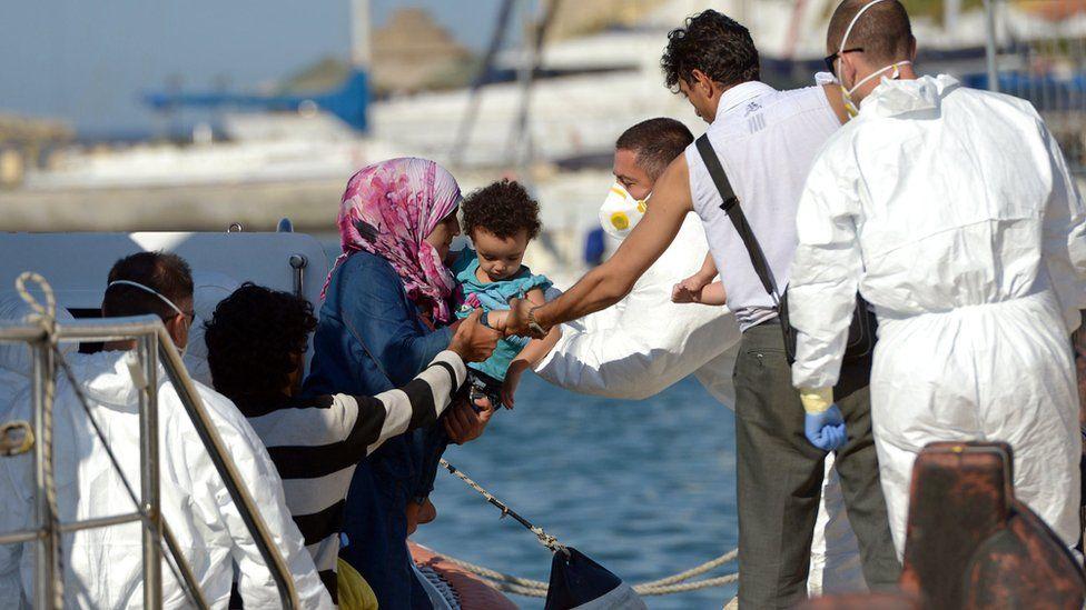 Migrants landing in Malta