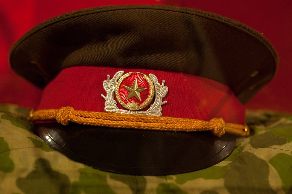 A hat and uniform belonging to a commander of the Viet Cong