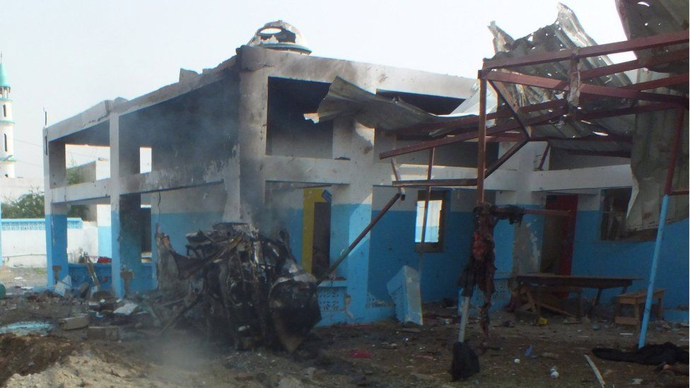 Hospital in Abs district, Yemen, after air strike by Saudi-led coalition (15 August)