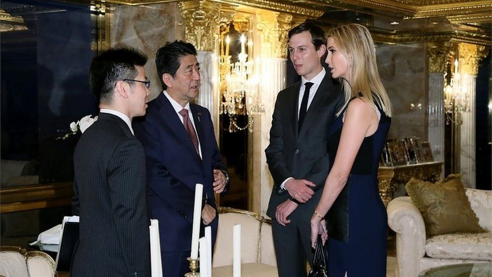 Ivanka Trump and her husband, Jared Kushner (2nd R) meet with Japanese Prime Minister Shinzo Abe (2nd L).