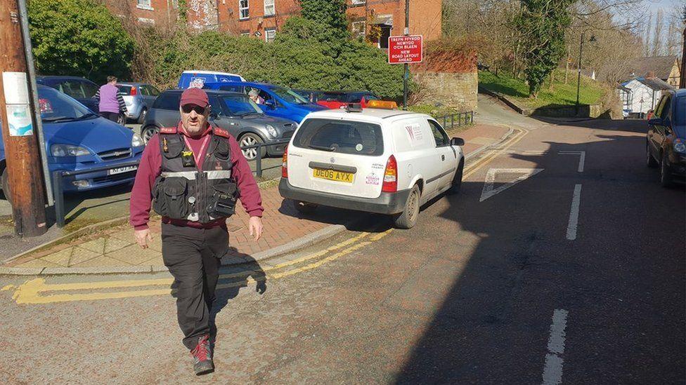 Parking warden in Wrexham leaves van on double yellow lines