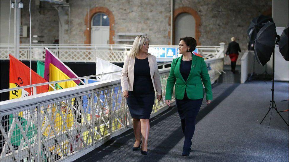 Michelle O'Neill and Mary Lou McDonald at the ard fhéis in Dublin