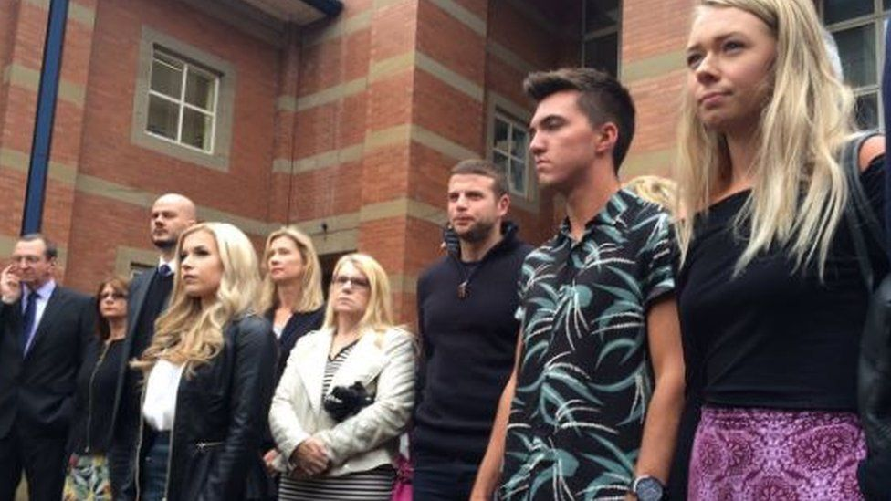 Victims outside court