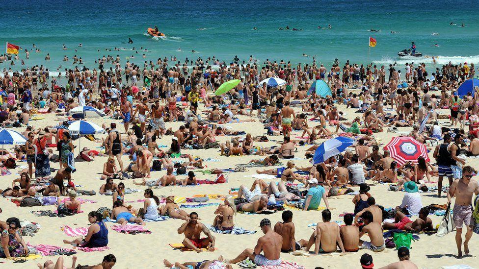 Beachgoers at Bondi Beach in Sydney