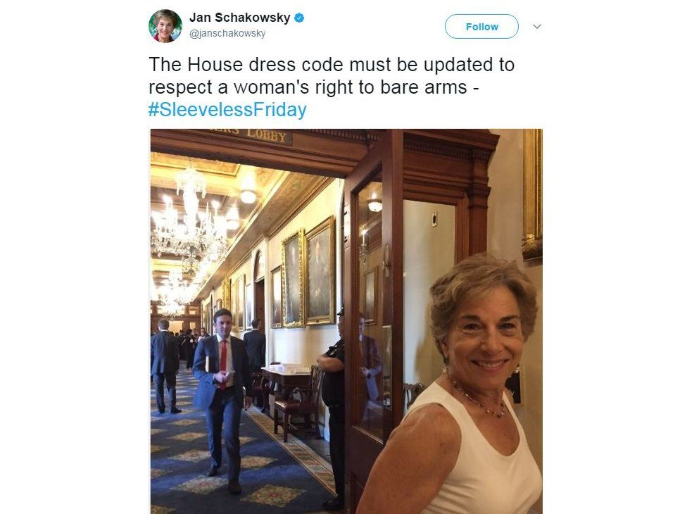 """Jan Schakowsky tweeted a picture of herself in a short sleeve shirt, and the caption: """"The House dress code must be updated to respect a woman's right to bare arms"""""""