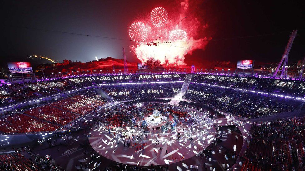 Fireworks explode during the closing ceremony, Pyeongchang Olympic Stadium