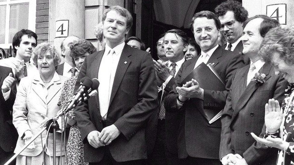 Paddy Ashdown at a presser after being elected leader of the Lib Dems