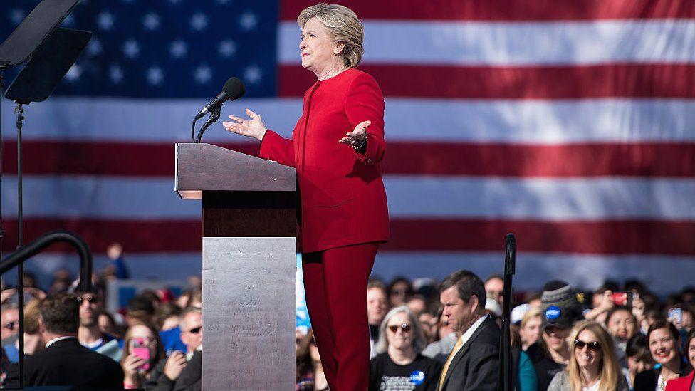 Clinton at a rally