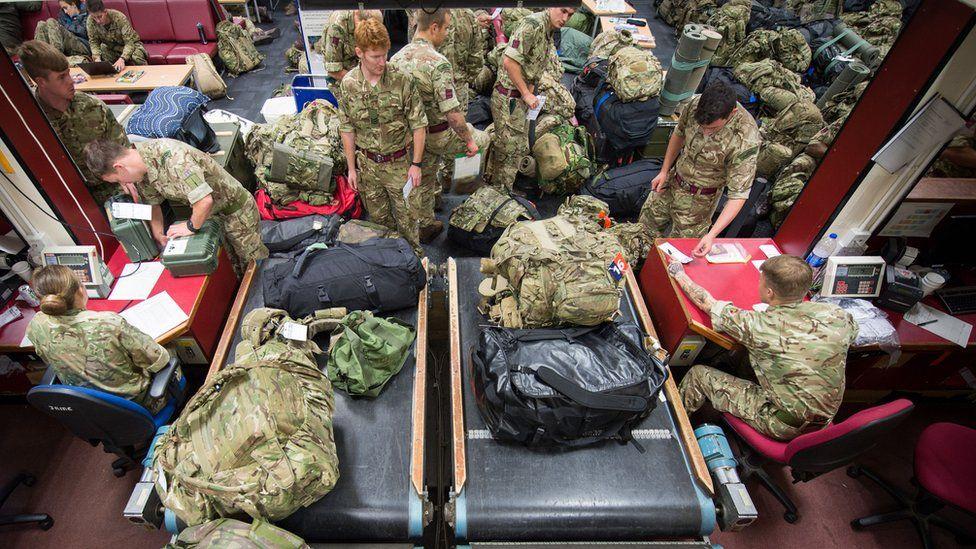 Soldiers preparing to leave RAF Brize Norton