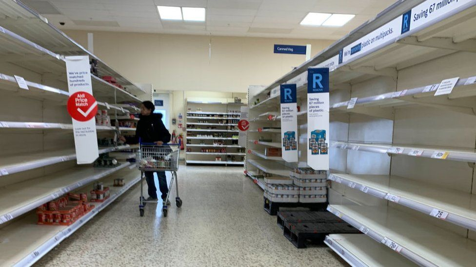 Empty shelves in a UK supermarket