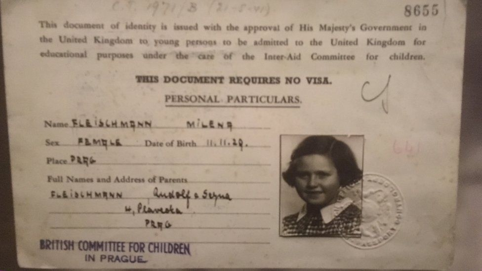 Lady Milena Grenfell-Baines' travel document as a child