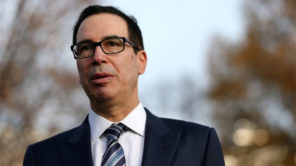 U.S. Treasury Secretary Steven Mnuchin speaks to the news media after giving a television interview at the White House