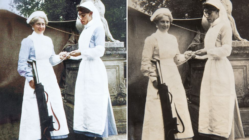 Picture of a nurse with a private dressed as a nurse