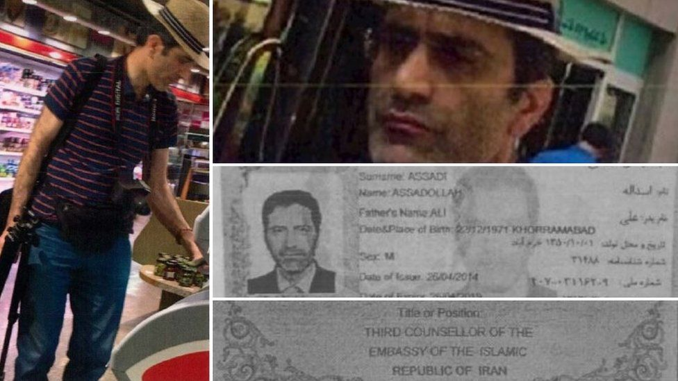 Pictures of Assadi were take in Luxembourg by the country's intelligence and his passport shows his position in the Vienna embassy