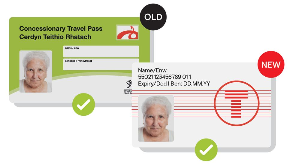 Old and new concessionary travel passes in Wales