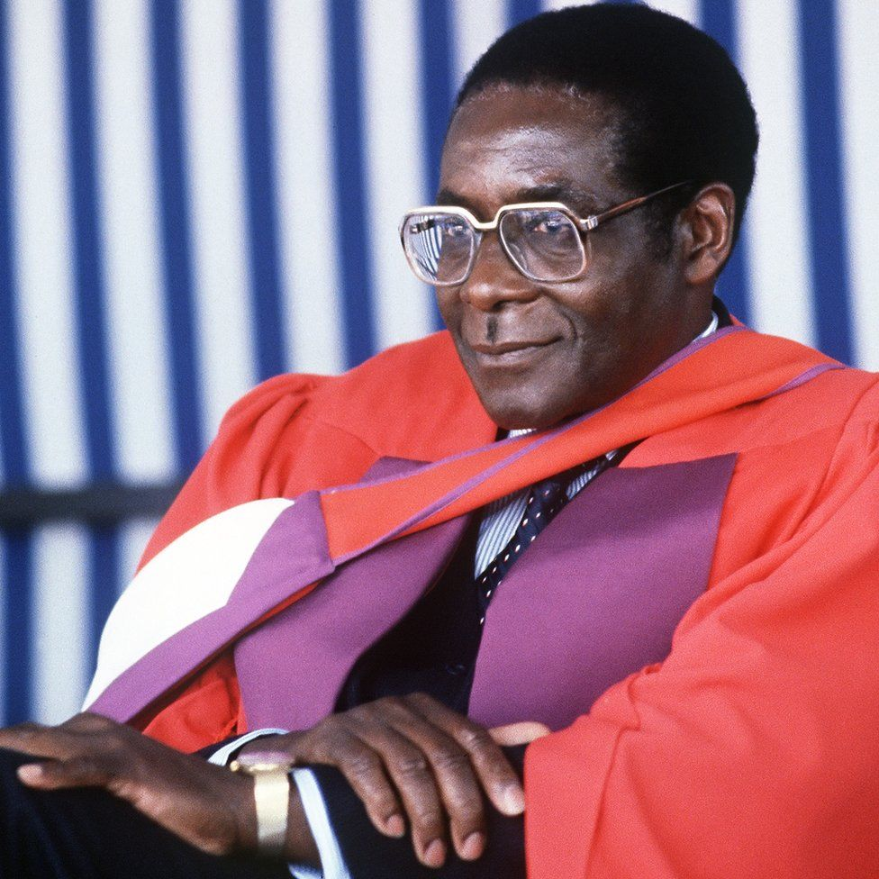 Robert Mugabe at the University of Harare being awarded Doctor Honoris Causa in July 1984