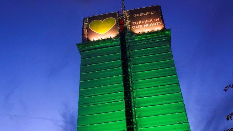 Grenfell Tower covered with green sheeting