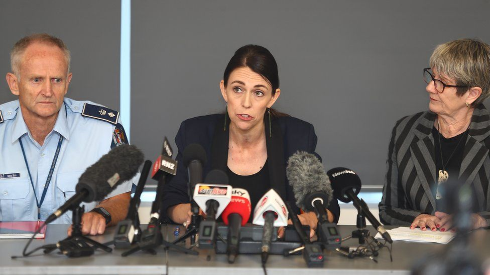 New Zealand PM Jacinda Ardern give a press conference with Police Sup Bruce Bird and Whakatane mayor Judy Turner