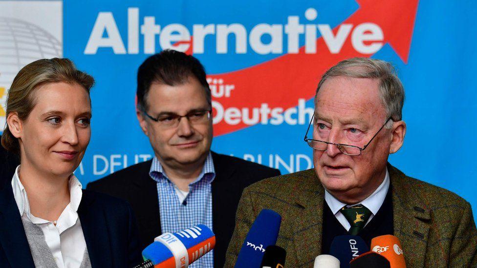 AfD co-leaders Alexander Gauland (L) and Alice Weidel, 20 Nov 17