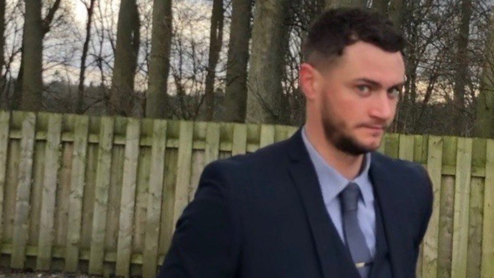 PC Matt Simpson arriving at a Penrith misconduct hearing on Thursday