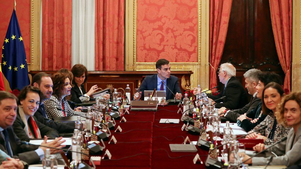 Prime Minister Pedro Sanchez holds a weekly cabinet meeting in Barcelona, December 21 2018