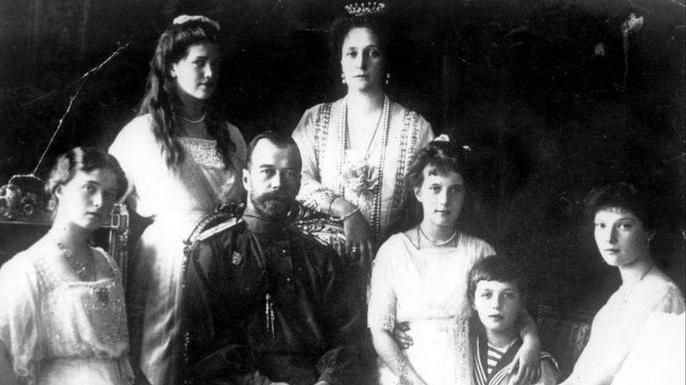 Left to right: Olga, Marie, Tsar Nicholas II, Tsarina Alexandra, Anastasia, The Tsarevitch and Tatiana