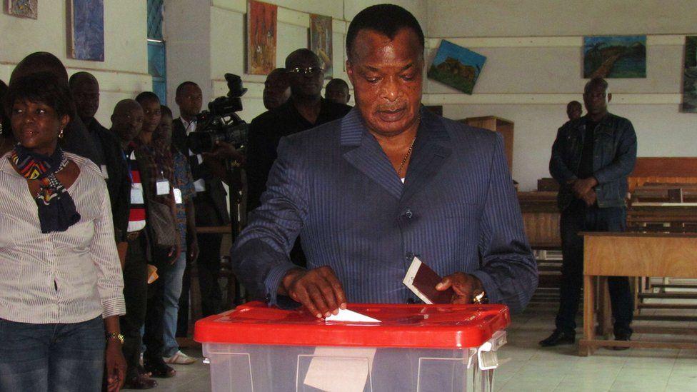 Denis Sassou Nguesso casts his ballot
