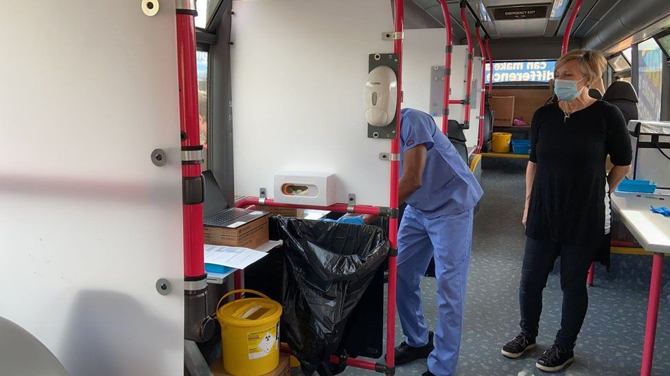 Inside the vaccination bus as Colchester Institute