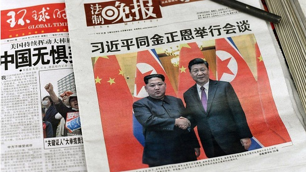 Influential newspapers showed Kim meeting Xi in March 2018