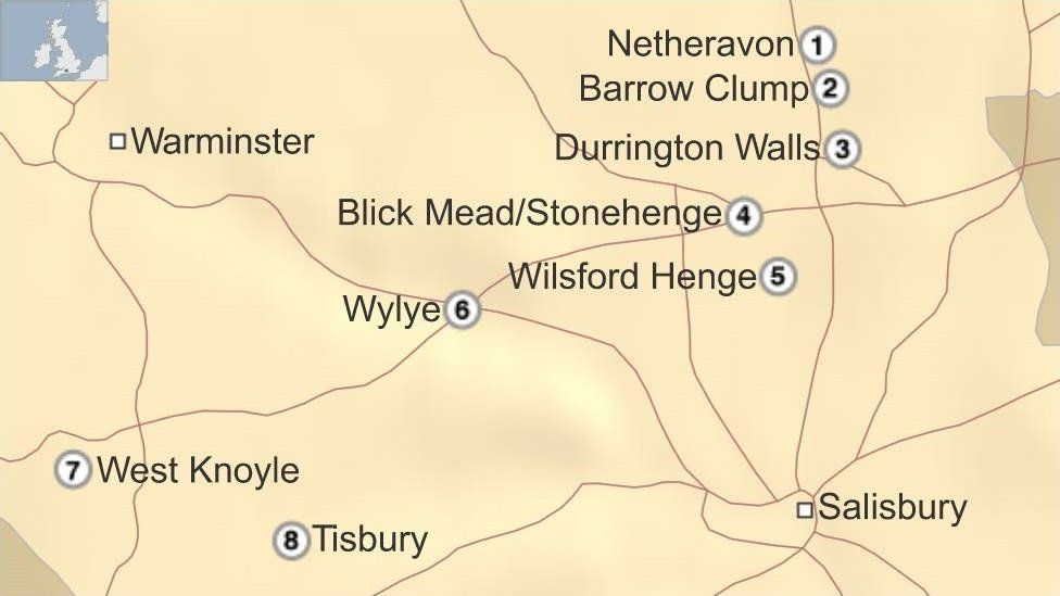 Map of archaeological sites in Wiltshire