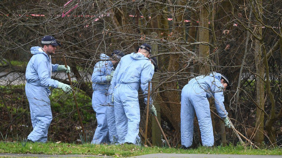 Forensic officers by trees near crime scene