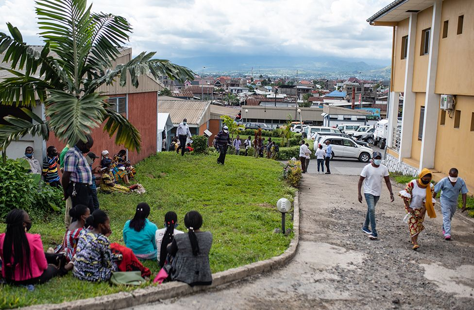 View from outside the vaccine tent in Goma