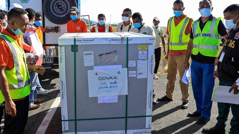 Covax donation from US unloaded in E Timor