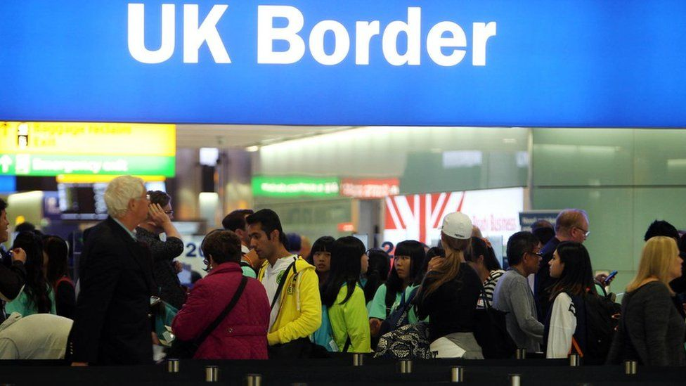 A queue at the UK border at Heathrow Airport