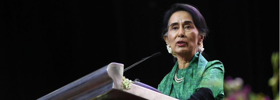 Myanmar State Counsellor Aung San Suu Kyi speaks to the Myanmar Community in Singapore during a meet session on 1 December 2016.