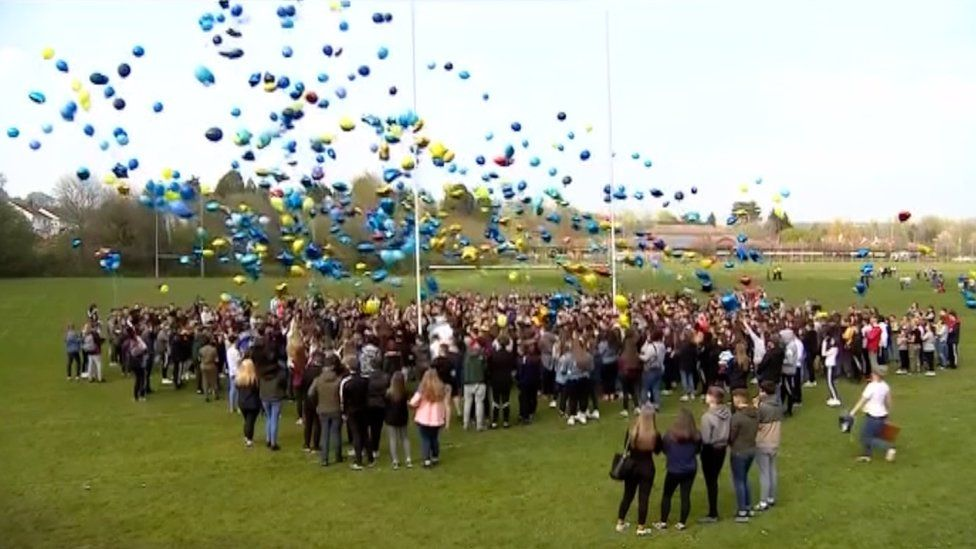 Balloons being released at the vigil for Carson Price
