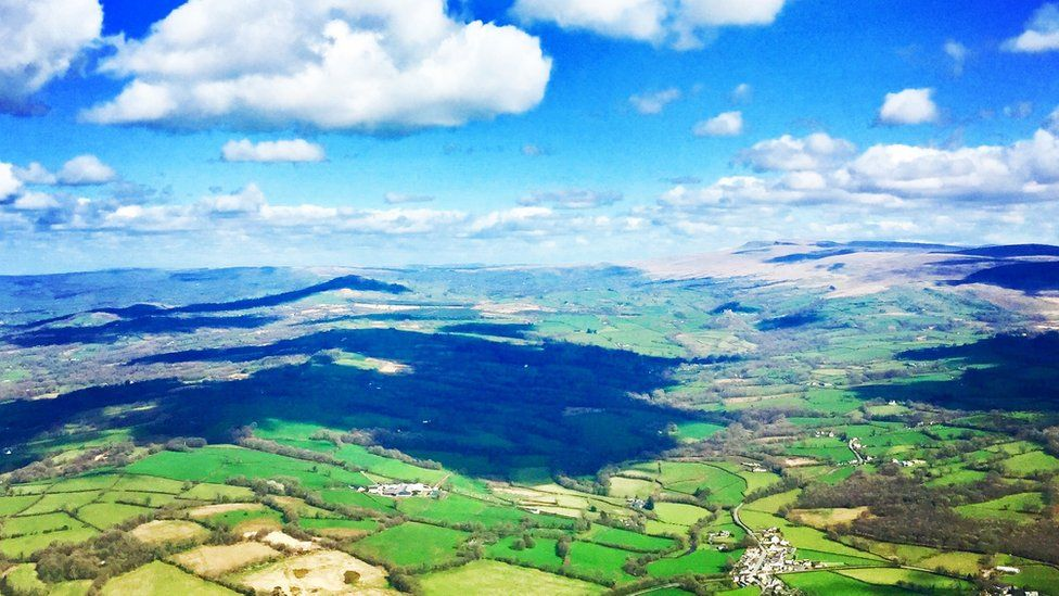 A view of the Llandeilo area from the Wales Air Ambulance