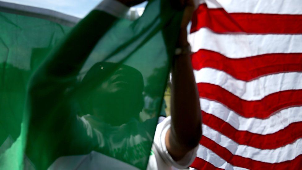 flags of Nigeria and the US side by side (file pic)